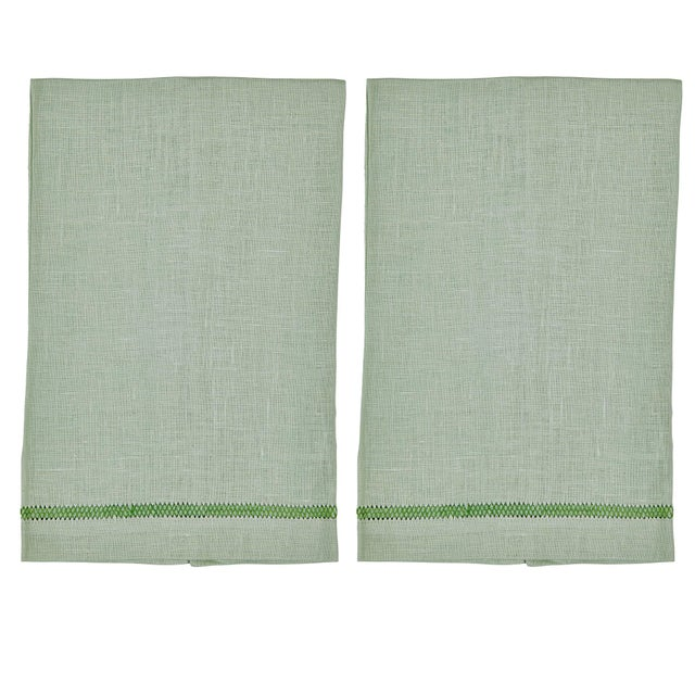 Traditional Mint Zig Zag Hand Towels - Set of 2 For Sale - Image 3 of 3