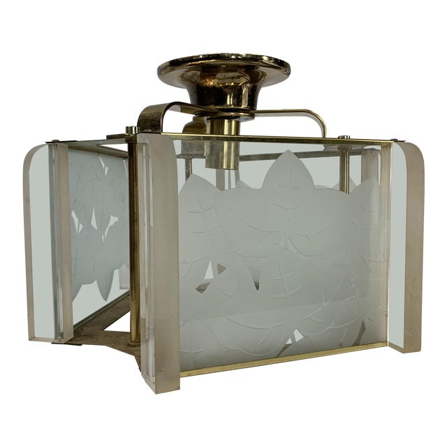 Vintage Modern Fredrick Ramond Brass & Lucite Etched Glass Light Fixture For Sale
