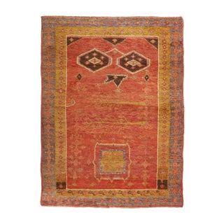 19th Century Traditional Khotan Geometric Red and Golden Yellow Wool Rug For Sale