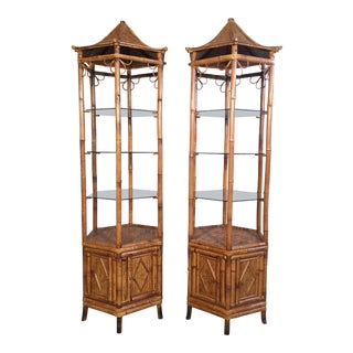 Pair of Bamboo Pagoda Etageres For Sale