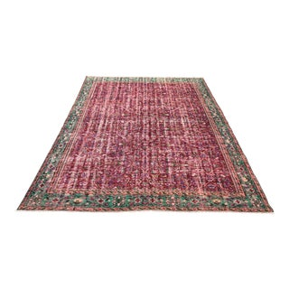 1960s Vintage Turkish Oushak Hand-Knotted Rug - 6′9″ × 9′1″ For Sale