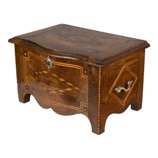 19th Century Antique French Marquetry Coffer Box For Sale