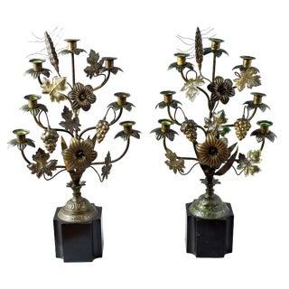Brass Floral Candelabras - a Pair