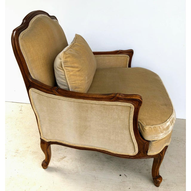 2000 - 2009 Weiman Queen Anne Bergere Arm Chairs in Wheat Velvet- A Pair For Sale - Image 5 of 13