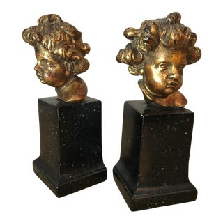Vintage Borghese Putti Cherub Bookends - a Pair For Sale