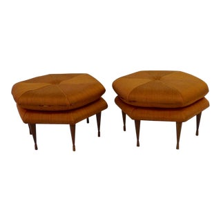 Pair of Selig hexagon form ottomans or Pouffe as found originals For Sale