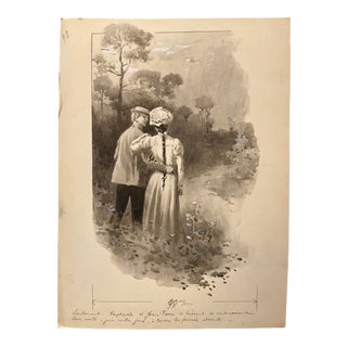 1900s French Mixed-Media Illustration of a Couple by Charles Atamian For Sale