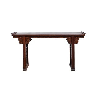 Chinese Brown Huali Wood Point Edge Relief Carving Altar Table