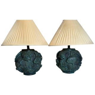 1960s Art Nouveau Maitland Smith Bronze Fish Motif Lamps - a Pair For Sale