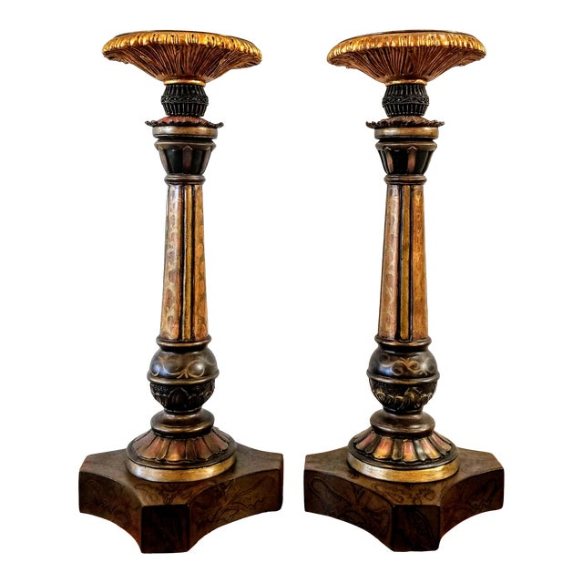 Vintage John-Richard Associates Painted Weighted Large Candlesticks Jra 4809 - a Pair For Sale