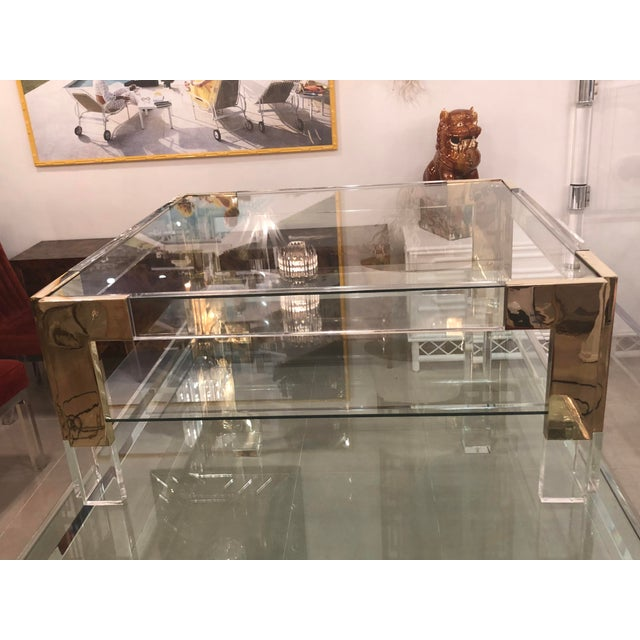 Vintage Lucite Brass 2 Tier Coffee Cocktail Table For Sale - Image 9 of 12