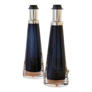 Carl Fagerlund for Orrefors Swedish Modern Blue Crystal Table Lamps - a Pair For Sale