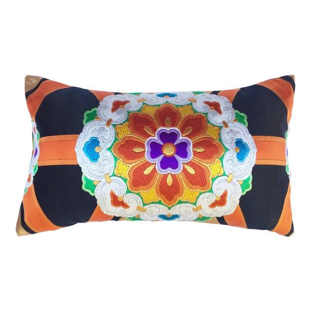 Vintage Japanese Obi Throw Pillow - Image 1 of 4