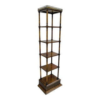 Vintage Narrow Faux Bamboo Bookcase