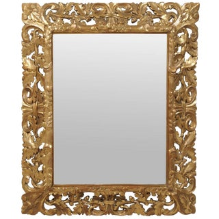 19th Century French Gilded Mirror With Carved Frame For Sale