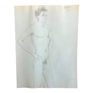 1981 James Bone Standing Male Nude Drawing on Green Paper For Sale