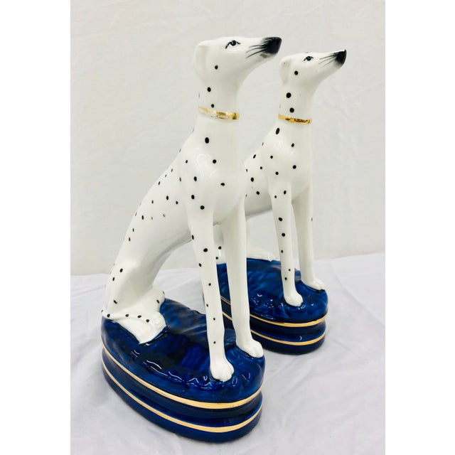 Figurative Pair Painted Porcelain Dog Sculptures For Sale - Image 3 of 10