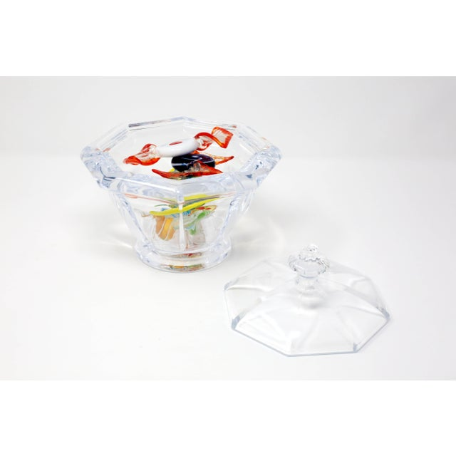 Octagonal Lucite Candy Bowl With Murano Glass Candy For Sale - Image 4 of 13