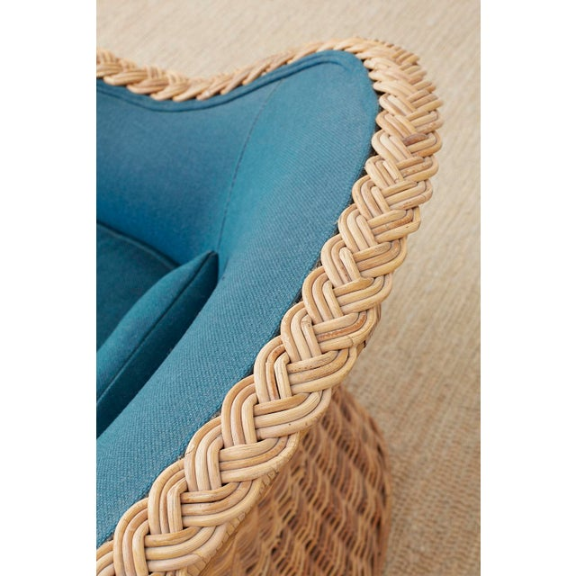 Pair of McGuire Rattan Wicker Lounge Chairs and Ottoman For Sale In San Francisco - Image 6 of 13