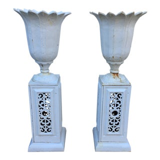 1880 Cast-Iron Tulip Urns With Original Openwork Bases- A Pair For Sale