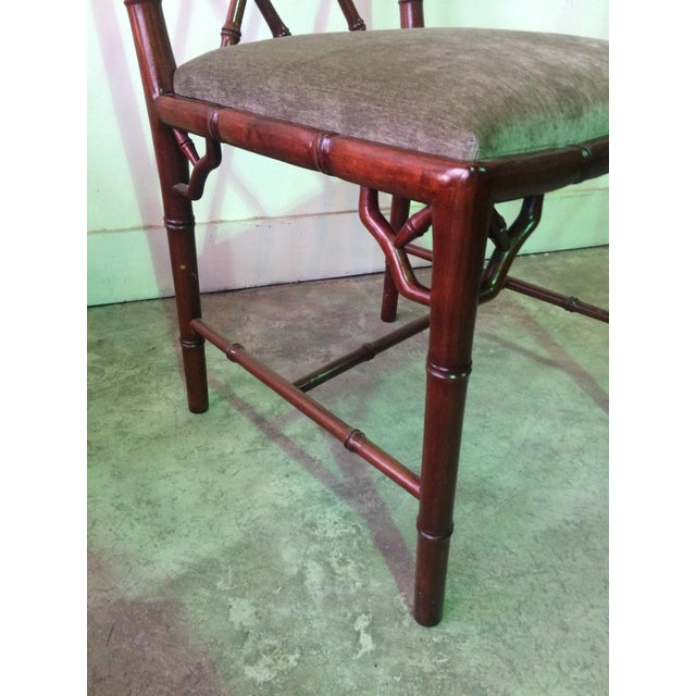 Brown 1960s Vintage Rosewood Chinese Chippendale Style Faux Bamboo Dining Chairs- Set of 8 For Sale - Image 8 of 13