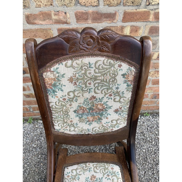 Vintage Victorian Style Upholstered Folding Rocking Chair For Sale - Image 4 of 10