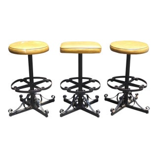 Set of Three Vintage Iron Spanish Style Gold Bar Stools Mid Century Modern
