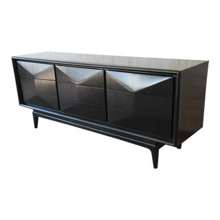 Ebonized Diamond Front Triple Dresser or Credenza by United For Sale