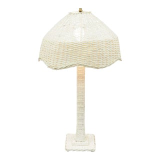 Vintage White Wicker Victorian Style Table Dresser Vanity Lamp Rattan Cottage Chic B