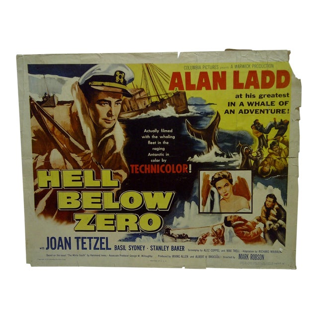 "Vintage Movie Poster ""Hell Below Zero"" Alan Ladd & Joan Tetzel 1954 For Sale"