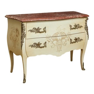 1950s Louis XV Style Gilt Bronze Mounted Paint Decorated Commode For Sale