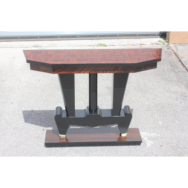 1940s French Art Deco Macassar Ebony Console Table For Sale - Image 4 of 13