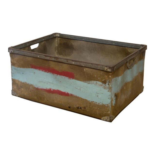 Large Vulcanized Canvas Factory Bin C.1948 For Sale