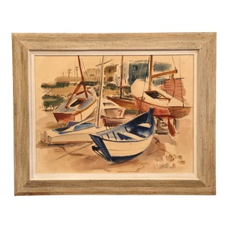 Mid-Century English Boat Oil on Board Painting Signed JC Wright For Sale