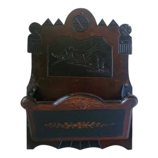 Antique Folk Art Walnut Bird Motif Wall Box
