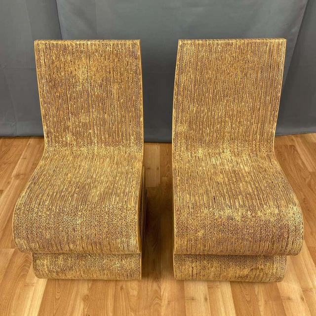 Pair of Early Frank Gehry Easy Edges Wiggle Side Chairs, 1972 For Sale - Image 10 of 13