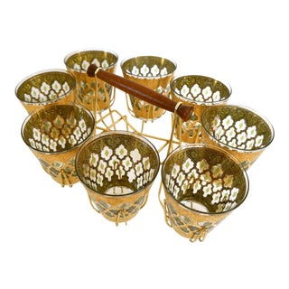 1960s Mid Century Modern Culver Cocktail Glasses & Caddy - Set of 9 For Sale