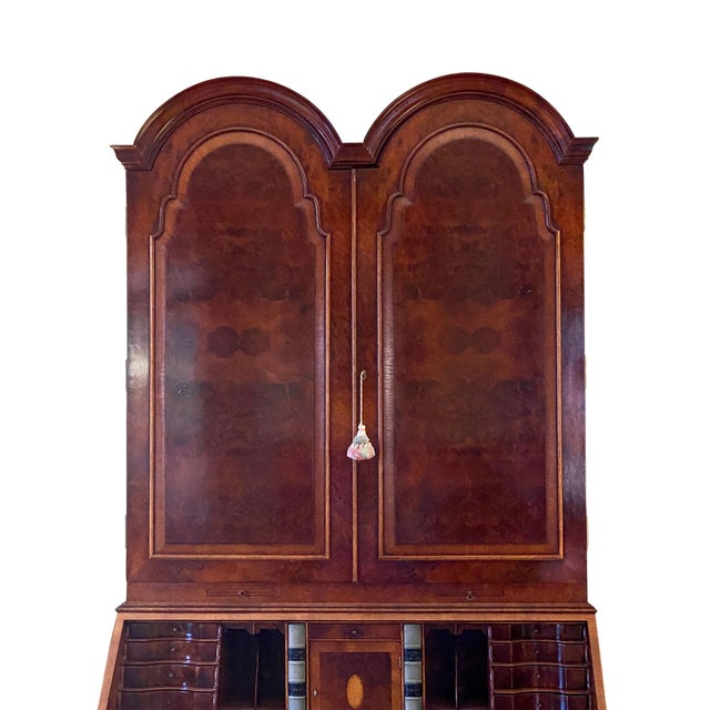 Queen Anne Vintage English Queen Anne Style Walnut Secretary Bookcase For Sale - Image 3 of 9