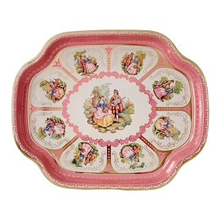 Vintage 1950s Pink English Metal Tray For Sale