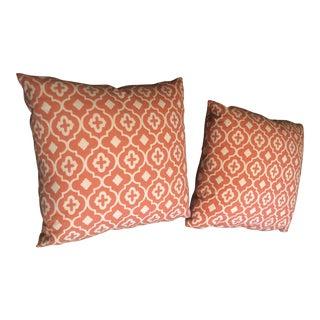 Orange Geometric Pattern Pillows - a Pair For Sale