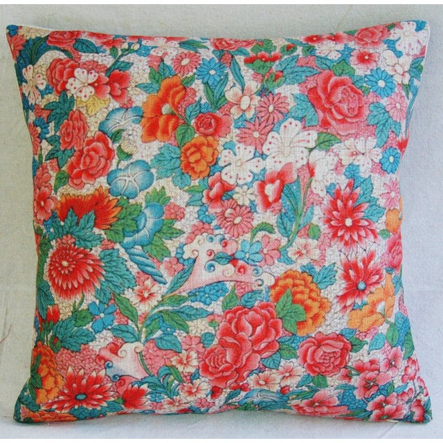 "Spring Bouquet Linen Feather/Down Accent Pillow 17"" Square For Sale - Image 4 of 5"