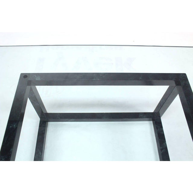 Large Mid Century Modern Thick Glass Top Table Cube Shape Base For Sale In New York - Image 6 of 7