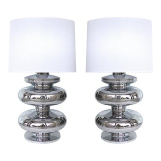 European Sculptural Chrome Table Lamps - a Pair