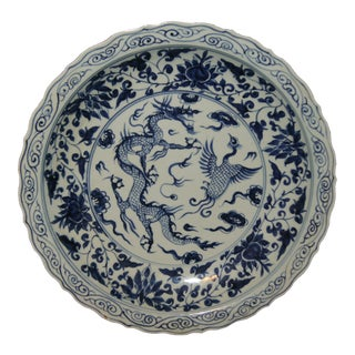 Asian Blue and White Dragon Charger For Sale