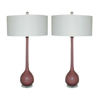 Vintage Murano Glass Long Neck Table Lamps Lavender For Sale
