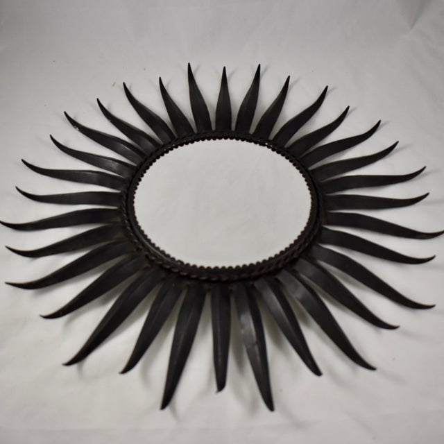 French Mid-Century Black Wrought Iron Tapered Ray Sunburst Wall Mirror For Sale - Image 4 of 13
