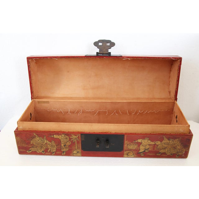 Chinese Orange Leather Tabletop Trunk - Image 4 of 8