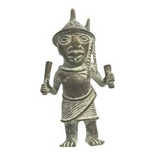 African Bronze Standing Warrior For Sale