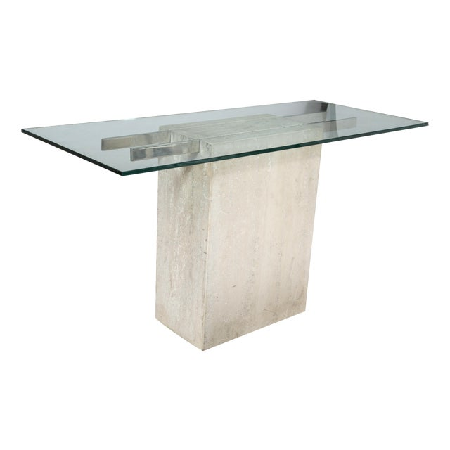 Travertine and Chrome Console Table by Ello - Image 1 of 9
