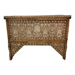 Antique Bone Inlaid Anglo Indian Trunk For Sale